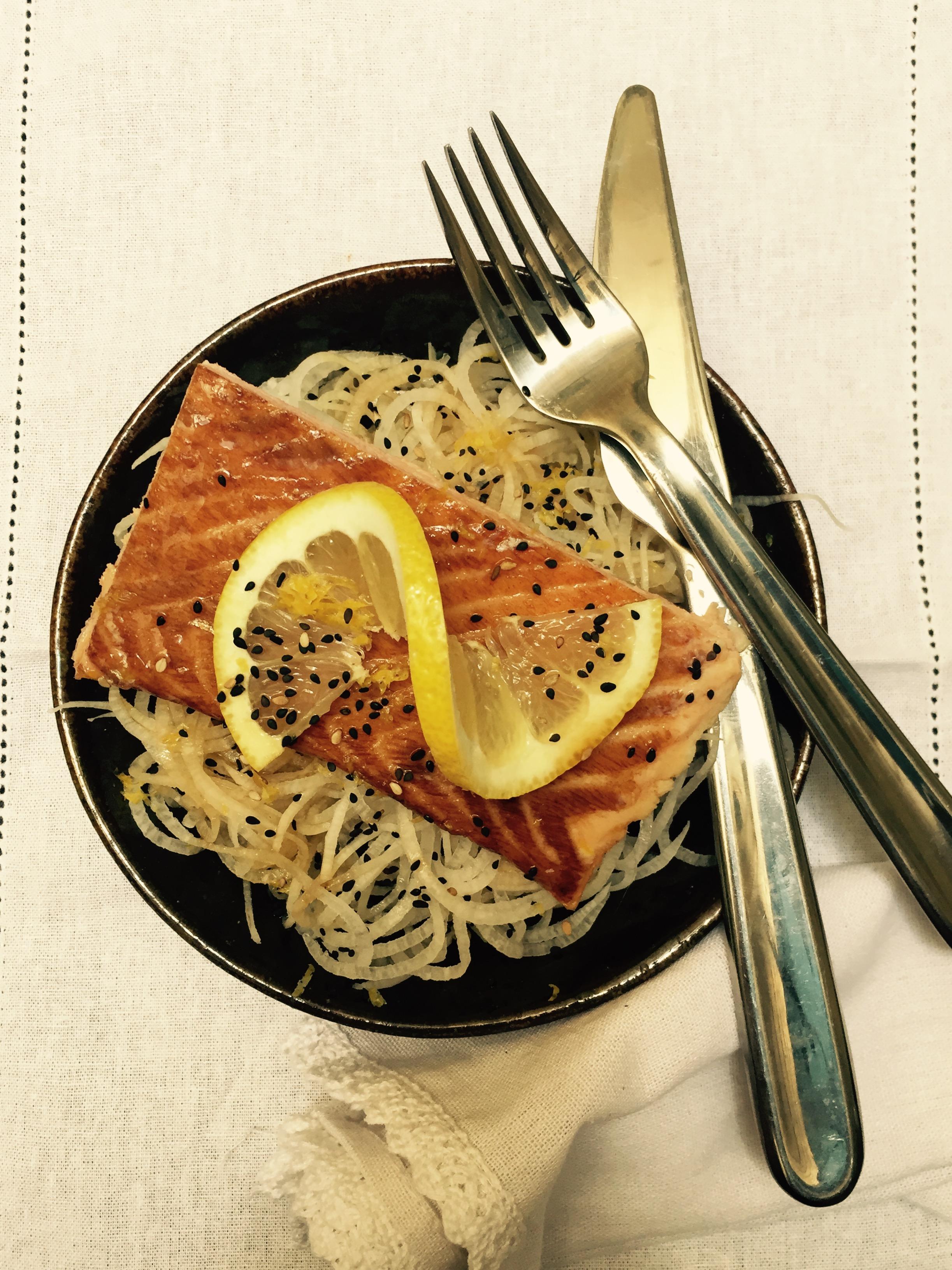 daikon radish noodle salmon ponzu
